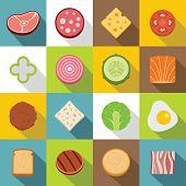 Slice Food Ingredient Icons Set. Flat Illustration Of 16 Slice Food Ingredient Icons For Web poster