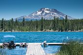Lava Lake, Along The Cascade Lakes Scenic Byway Near Bend Oregon, With Mt. Bachelor In The Backgroun poster