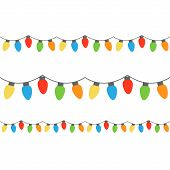 Christmas Colorful Lights On String. Colorful Xmas Light Bulbs Vector Graphic Illustration. poster