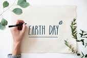 Earth day card supporting environmental protection poster