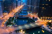 Chicago River With Boats And Traffic In Downtown Chicago At Dawn poster