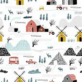 Seamless Winter Landscape. Pattern With House, Trees, Horses, Mills And Hills. Europe Nature Landsca poster
