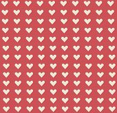 White Cute Little Heart Shape Pattern On Red Background. Heart Pattern Background Look Sweet And Bea poster
