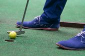 Close-up, Top View On Grass Background, Mini Golf Ball And Blue Shoes poster