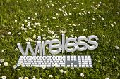 Wireless text and modern keyboard on green grass in garden