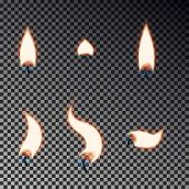 Candle Flame Set Isolated On Checkered Background, Memorial Fire Collection. Candle Flame Effect. Ve poster