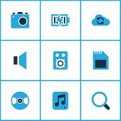 Multimedia Icons Colored Set With Mute, Vinyl, Synchronize And Other Silence Elements. Isolated  Ill poster