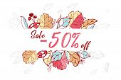 Sale -50 Off. Autumn Season.hand Drawn Leaves In Fall Colors.seasons Greetings Card Perfect For Prin poster