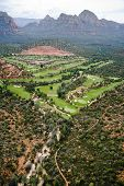 Aerial view of a golf course near Sedona, Arizona