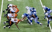 INDIANAPOLIS, IN - SEPT 2: Bengals and Colts line-up during football game between Indianapolis Colts