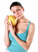 picture of pamelo  - Girl holds in really big citrus fruit  - JPG
