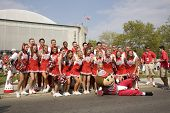 Group shot of the Ohio State cheerleading squad with Brutus the Buckeye