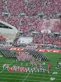 The Ohio State football team takes the field at the beginning of the game