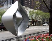 Sculpture in the garden along Michigan Avenue