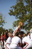 Columbus, Ohio: Ohio State Cheerleaders prepare to do a lift