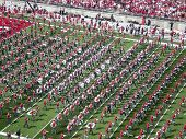 COLUMBUS,OH-SEPTEMBER 5:  The Ohio State Alumni band performs with the current OSU band before the g