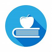 Apple On Book, Knowledge Icon With Long Shadow. Vector Graduation Icon. Education, Academic Degree.  poster