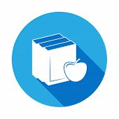Apple On Books, Knowledge Icon With Long Shadow. Vector Graduation Icon. Education, Academic Degree. poster