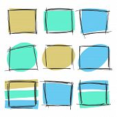 Vector Set Of Hand Drawn Frames And Spots In Various Geometric Shapes For Backdrops. Colorful Artist poster