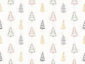 Seamless Pattern With Handdrawn Christmas Trees, Vector Eps10 Illustration poster