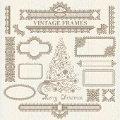 Christmas vector vintage elements set.