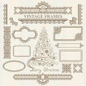 Christmas vector vintage elements set.
