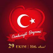 Cumhuriyet Bayrami, 29 Ekim Kutlu Olsun, Republic Day Turkey Vector Banner. Translation: 29 October  poster