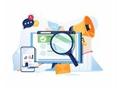 Search Result Optimization Seo Marketing Analytics Flat Vector Banner With Icons. Seo Performance, T poster
