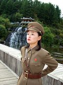 PAKTUSAN - SEPTEMBER 7: north korean military woman guard at the outpost near Paktusan mountain, Sep