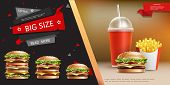 Realistic Fast Food Advertizing Template With Soda French Fries And Appetizing Burgers Of Different  poster