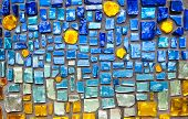 foto of ceramic tile  - colorful glass mosaic wall background - JPG