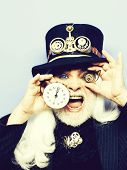 Surprised Man Senior Bearded Male Or Watchmaker With Colorful Lenses In Eyes And White Beard Hair In poster