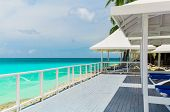 Varadero, Cuba, Gorgeous Amazing Inviting View Of A Wooden Deck With Sun Sheds Near The Beach, Great poster