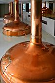 copper distillery tanks in bohemian brewery