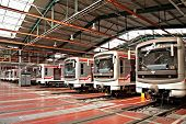 PRAGUE - SEPTEMBER 17: Modernized subway trains 81-71M in Depot Hostivar on Open Doors Day on Septem