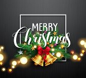 Merry Christmas Greeting Typography And Christmas Wreath With Gold Bells And Bright Blurred Christma poster