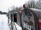 A row of mailboxes covered in snow from a late winter storm
