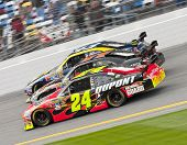 DAYTONA BEACH, FL - FEB 11:  Jeff Gordon, Denny Hamlin, AJ Almendinger make it three wide during the