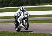 TOPEKA, KS - AUG 2:  AMA Superbike racer, Aaron Yates, travels through the turns at the Tornado Nati
