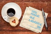 Good Morning, have a wonderful day - handwriting on a napkin with a cup of coffee and cookie poster
