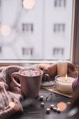 Mug Of Hot Cocoa Or Hot Chocolate With Marshmallow On Windowsill poster