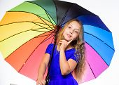 Stay Positive Fall Season. Girl Child Ready Meet Fall Weather With Colorful Umbrella. Ways To Improv poster