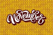 November Lettering On Yellow Knitting Texture. Modern Brush Calligraphy With Seamless Knit Pattern.  poster