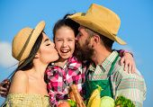 Family Farm Concept. Parents And Daughter Farmers Celebrate Harvest Holiday. Family Farmers Hug Kiss poster