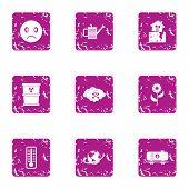 Chemically Hazardous Icons Set. Grunge Set Of 9 Chemically Hazardous Icons For Web Isolated On White poster