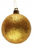 Gold glitter Christmas bauble ball.