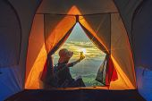 Camping Tent In Campground At The Mountain With Sunset,sunset Inside A Tent,tourist Tent In Forest C poster