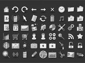 54 black and white web icons