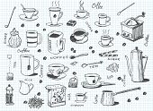 picture of sachets  - big vector set of coffee and tea - JPG