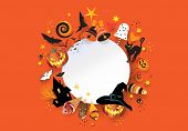 Halloween Holiday Party, Treat Or Trick Invitation With Halloween Pumpkin, Magic Witch Hat, Bat, Bla poster